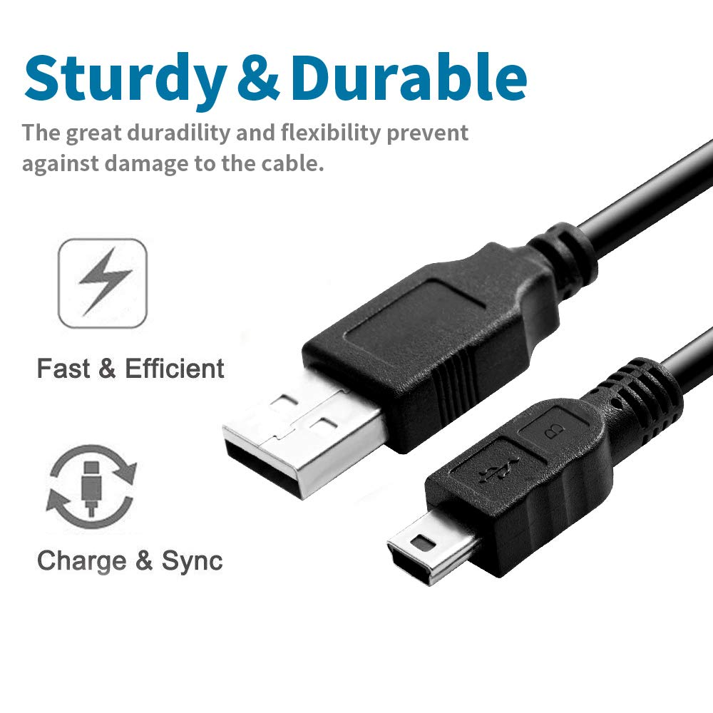 Mini USB Cable, 10 FT[2 Pack]A-Male to Mini-B Charger Cable for Texas Instruments TI-84 Plus CE Graphing Calculator, Replacement Mini 5 Pin UC-E4 Cord for GoPro Hero 3+, Hero HD, PS3 Controller, Phone