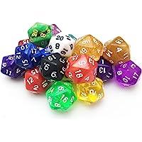 SmartDealsPro 10 Pack of Random Color D20 Polyhedral Dice for DND RPG MTG Table Games