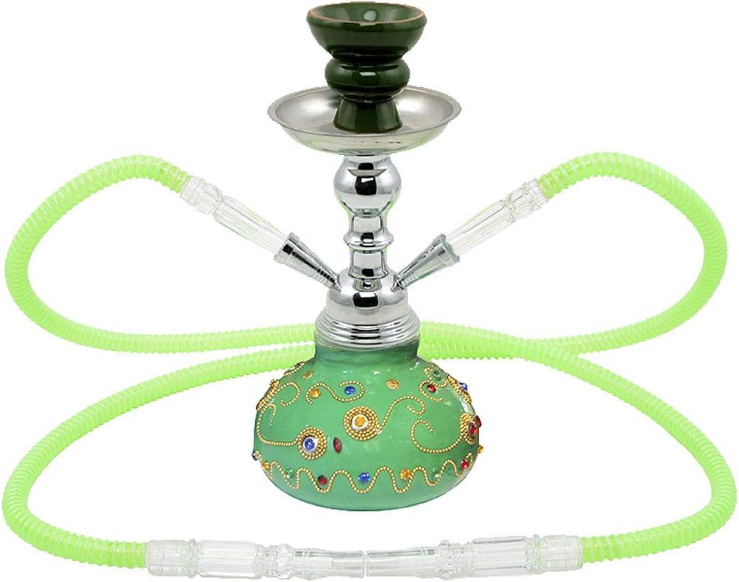 MADGROW Cachimba ALADINO. Verde. 25 cm. Shisha Resina con Abalorios. 2 mangueras. SÚPER Pack: 2ª Cazoleta Extra, 10 Pastilla de carbón, boquillas XXL, difusor de Burbujas, Pinzas con perforador.