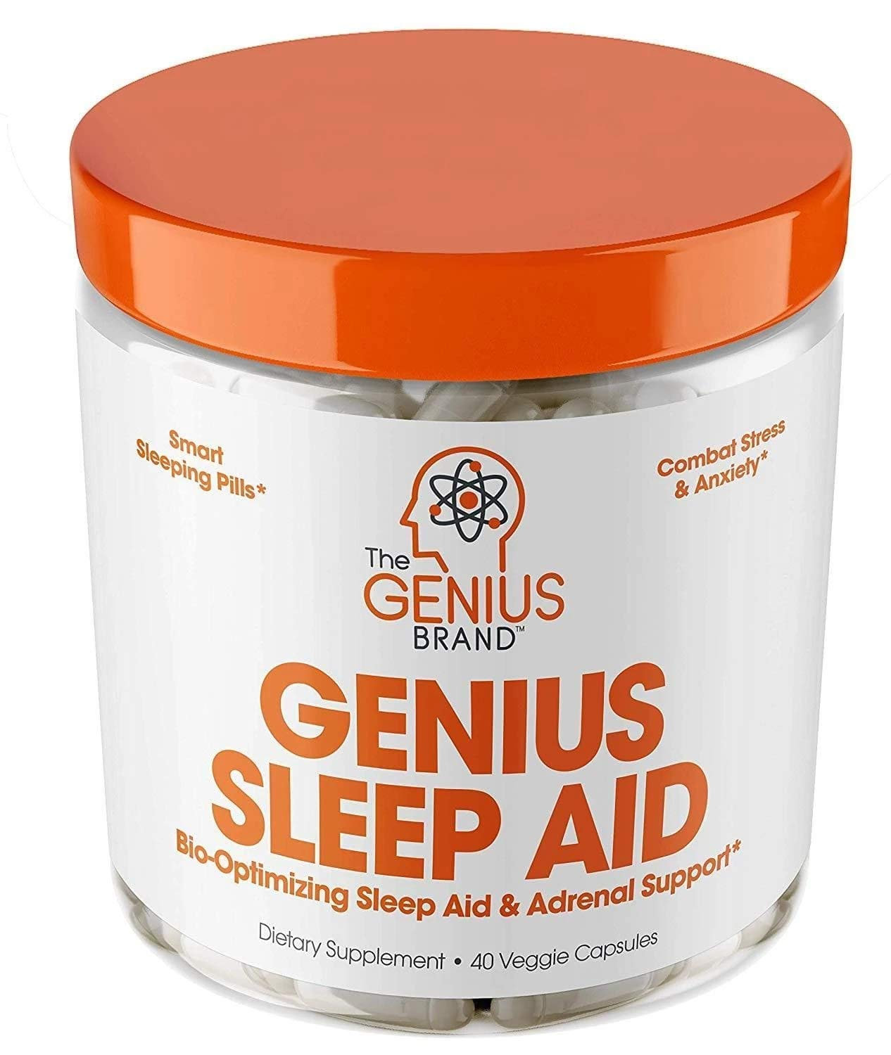 Genius Sleep AID - Smart Sleeping Pills & Adrenal Fatigue Supplement, Natural Stress, Anxiety & Insomnia Relief - Relaxation Enhancer and Mood Support w/Inositol, L-Theanine & Glycine - 40 Capsules by The Genius Brand