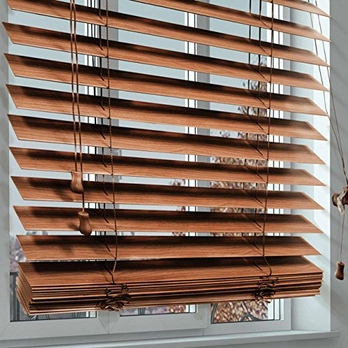 CHICOLOGY Faux Wood Blinds/window horizontal 2-inch venetian slat, Faux Wood, Variable Light Control - Simply Brown, 35'' W X 64'' H by CHICOLOGY (Image #4)