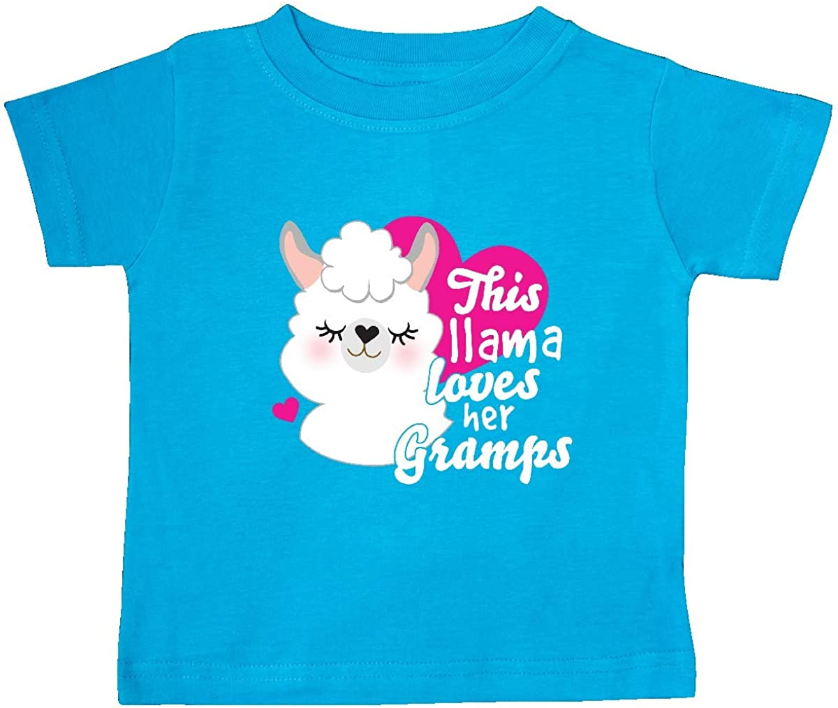 inktastic Valentines Day This Llama Loves Her Gramps Baby T-Shirt