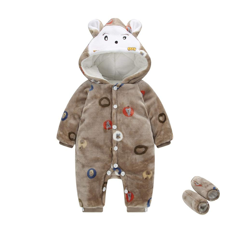 Hooyi Baby Girl boy Thick Warm Jumpsuit Shoe Outfit Hoodies Footies Coat Infant Winter Rompers Toddler Clothing Bodysuit