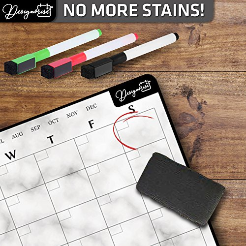 Designorize Marble Dry Erase Magnetic Calendar for Refrigerator with Markers and Eraser (5-Piece Set) Daily, Weekly, Monthly Organizer | Stain Resistant Surface | Home and Office Organization by Designorize (Image #3)
