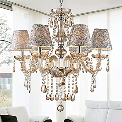 eshion Crystal Lamp Fixture Pendant 6 Lights Ceiling Chain Lamp Chandelier[US Stock]