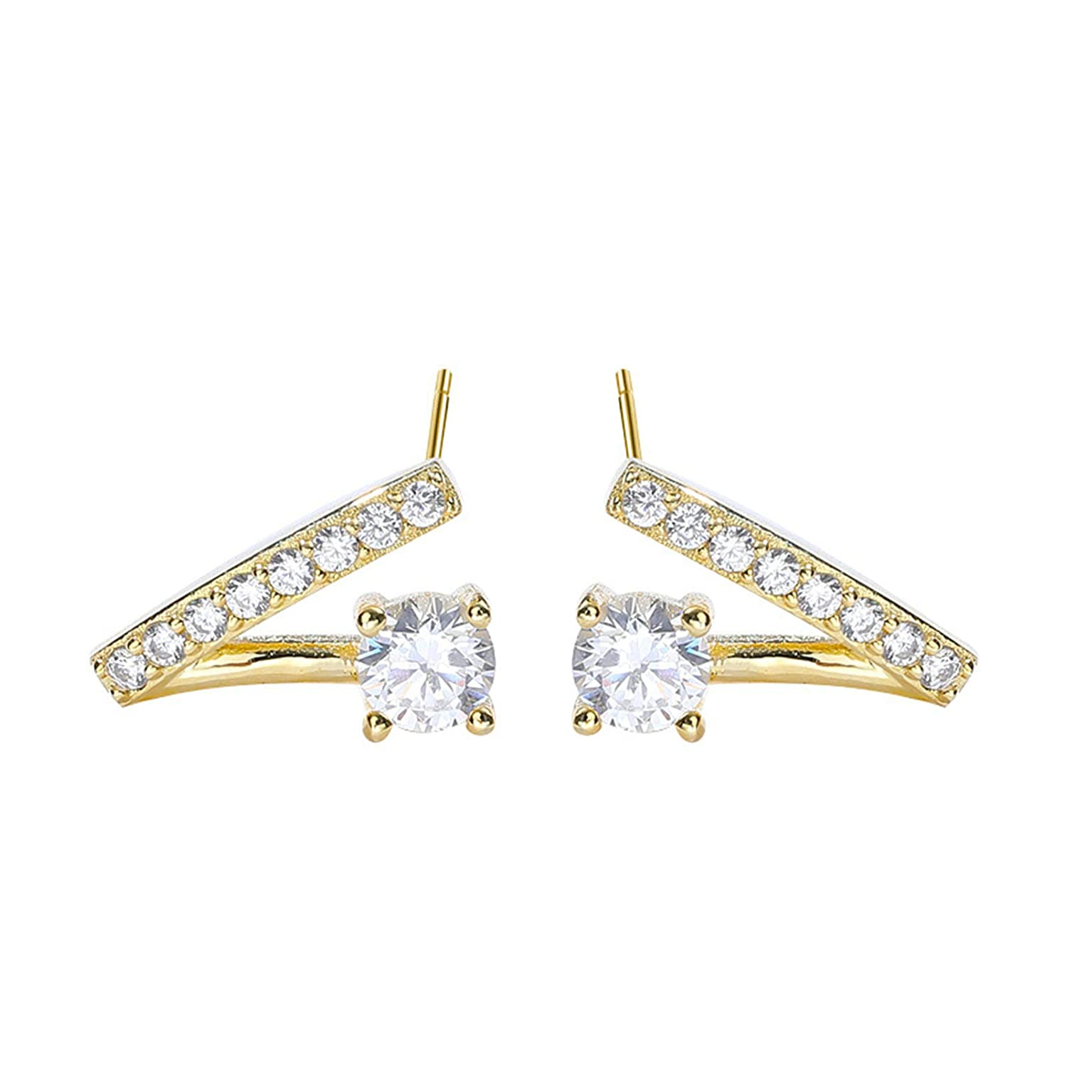 Adisaer Jewelry WomenS Studs Earrings Sterling Silver Gold V-Shaped Cubic Zirconia LW 8X8CM Round Shape Cubic Zirconia Engagement Earrings