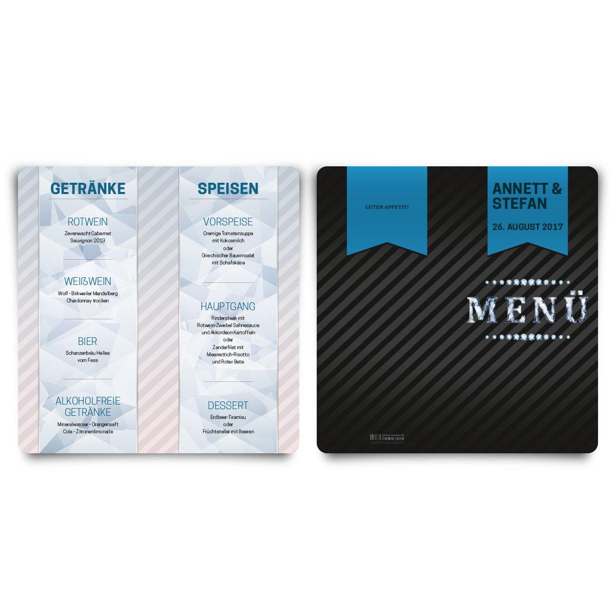 Menükarten Hochzeit (60 Stück) - VIP Blau - Speisekarte Speisekarte Speisekarte Getränkekarte B01N45KJ5Q | Schön und charmant  | Up-to-date-styling  | Bestellung willkommen  7a5ce5