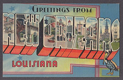 Greetings from NEW ORLEANS LA large letter postcard 1940s from The Jumping Frog