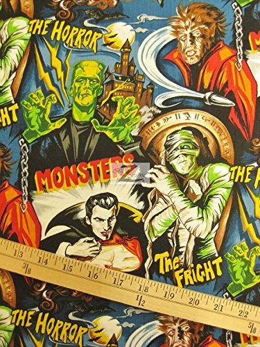 Monsters Fabric - MONSTERS PLEASURES AND PASTIMES BY ROBERT KAUFMAN 100% COTTON FABRIC 45