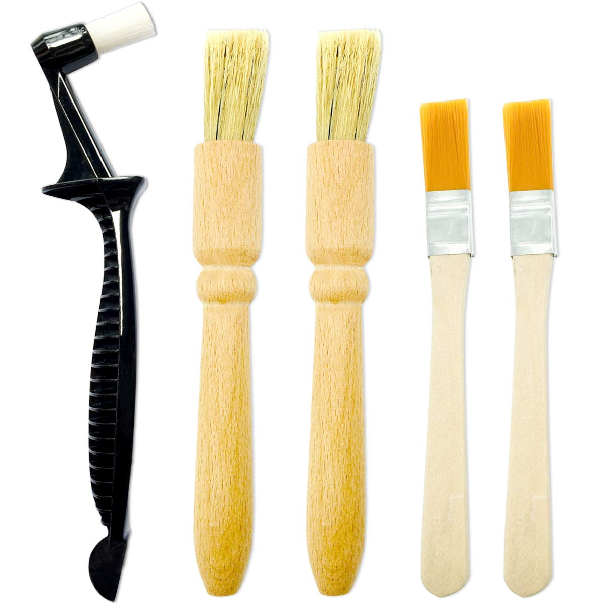 5 Pack Coffee Grinder Cleaning Brush, Heavy Wood Handle & Natural Bristles Wood Dusting Espresso Brush and Nylon Espresso Machine Brush with Spoon for Bean Grain Barista Pasta Makers Home Kitchen