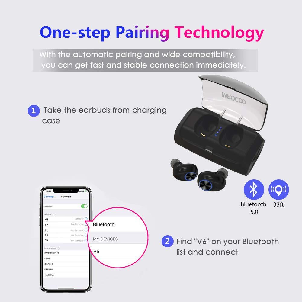 MIROCOO /Écouteurs Bluetooth Sport Oreillette Bluetooth sans Fil 5.0 pour iPhone Samsung Huawei iPad Tablette CVC 6.0 R/éduction du Bruit Mic TWS Ecouteur avec 3000mAh Etui de Charge Autonomie 125H