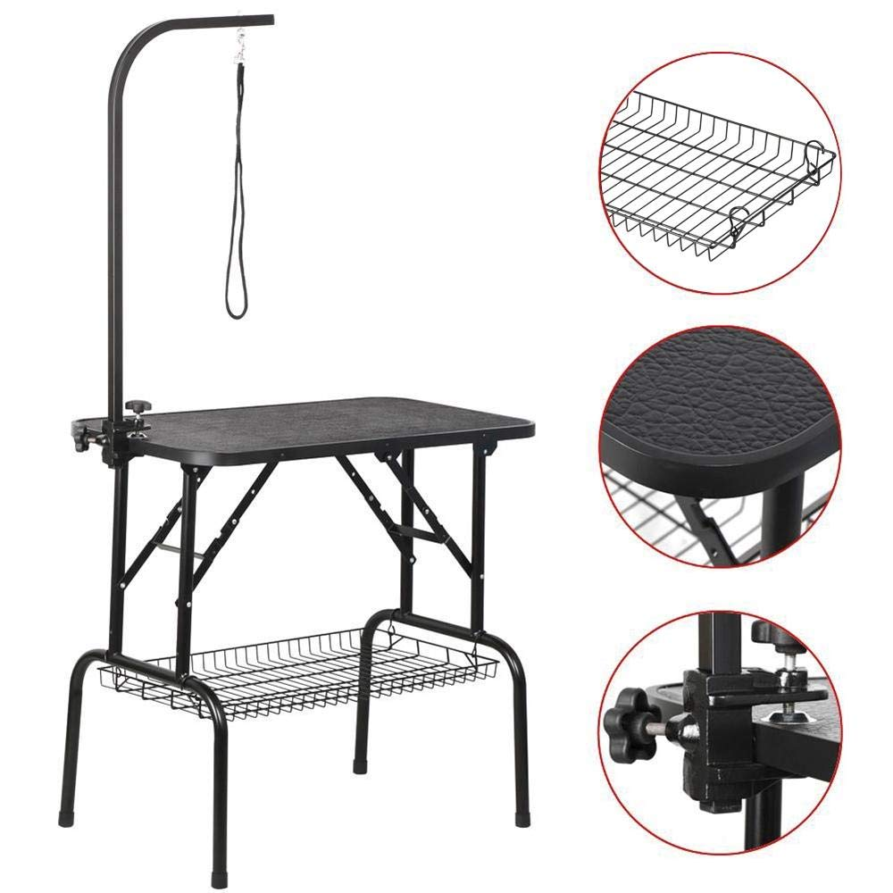 Yaheetech Portable Small Pet Dog Grooming Table Adjustable Height - 32-inch Drying Table w/Arm/Noose/Mesh Tray for Small Dogs Cats Non-Slip Maximum Capacity Up to 220lbs Black by Yaheetech