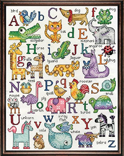 Design Works - Nursery Decor - ABC Animal Sampler - Counted Cross Stitch Kit 2852, 12 by 16 inches with Gift Card ()