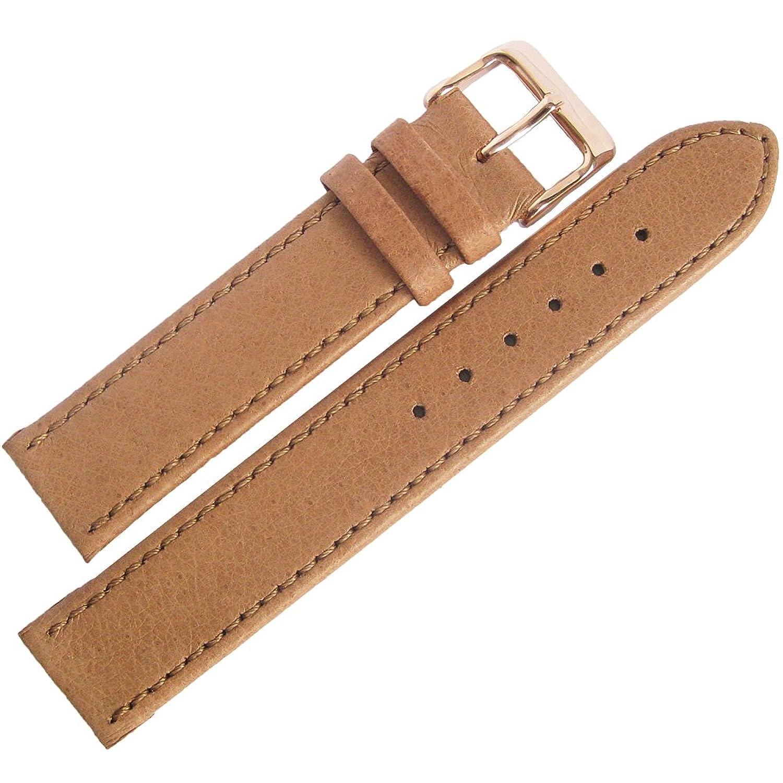 Fluco豚革20 mm Tan Smooth Leatherローズゴールドバックルドイツ腕時計ストラップ  B06W9GH5TQ