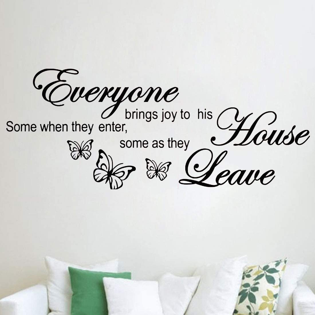 Everyone Brings Joy to His House,Wall Sticker Butterflies Decal Quote Art Vinyl Decor Removable Decoration for Bedroom Living Room