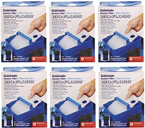 Penn Plax Bio-Floss Filter Media for Cascade 700 and 1000 Canister Aquarium Filter Pumps, 6-Boxes/36-Cartridges