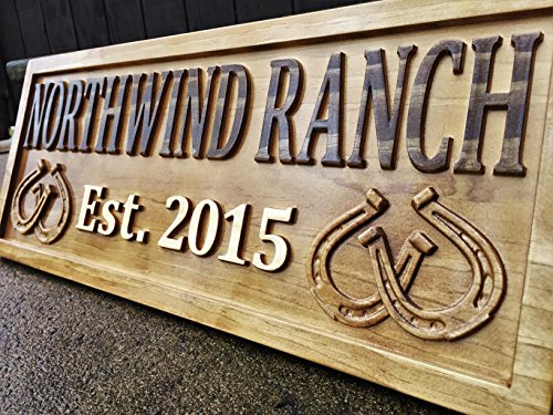 Personalized Ranch Sign Rustic Wood Sign Personalized Couples Gift Custom Wooden Sign Family Last Name Established Gift Stall Sign Horse Barn Horseshoe Decor Western 5 Year Anniversary ()
