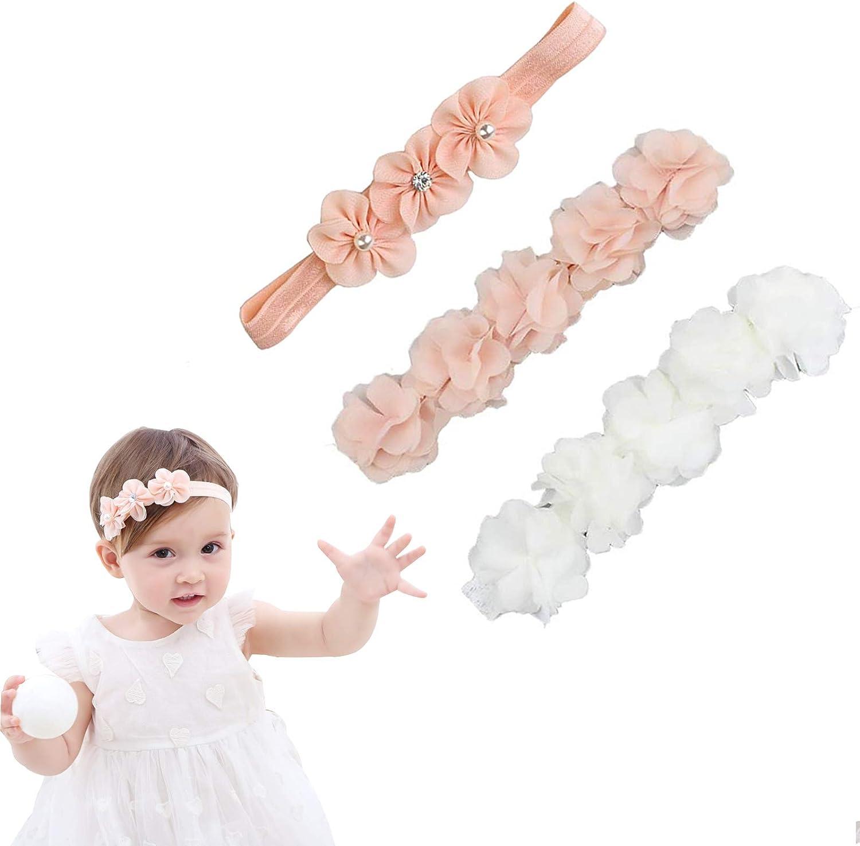 Cinta de grogrén para niñas pequeñas, niñas pequeñas, turbante, diadema, diadema, diadema, accesorios para bebé, joyas, flores, diademas para niñas pequeñas (3 unidades)