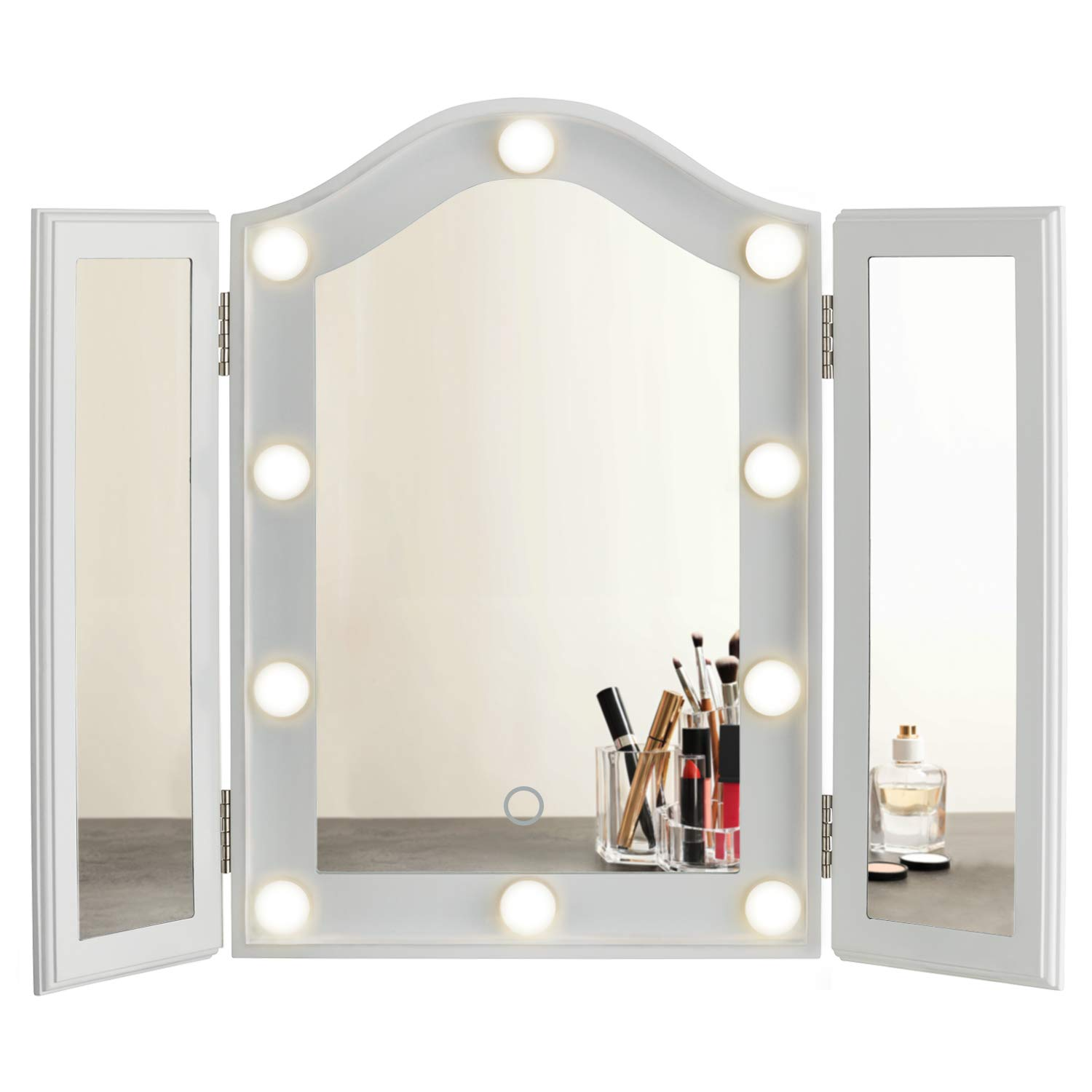 LUXFURNI Hollywood Tabletop Makeup Tri-fold Mirror with USB-Powered Dimmable Light Touch Control White