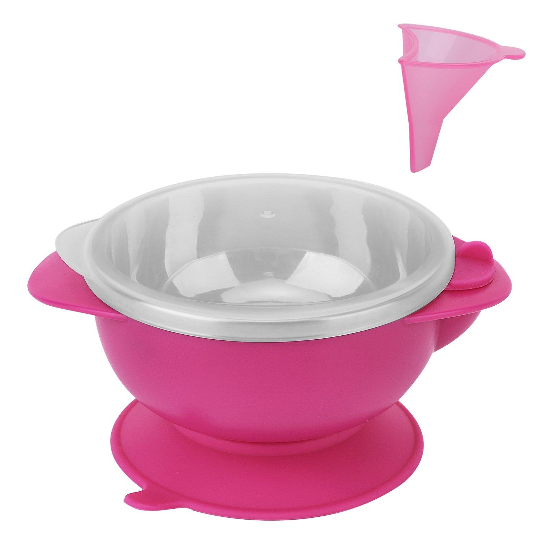 Zooawa Bebé Cuenco con Ventosa, Bol Antideslizante con Embudo de Inyección de Agua, Cuenco de Acero Inoxidable sin BPA, Juguete de Alimentación para Bebés de Más de 12 Meses, Azul