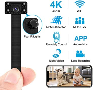 Home Security Camera with Remotely View//Motion Detection// 2500mAh Battery Covert Cameras Hidden for Indoor//Outdoor UPDATED Spy Camera Wireless Hidden Camera 4K HD Video Recorder DIY Camera