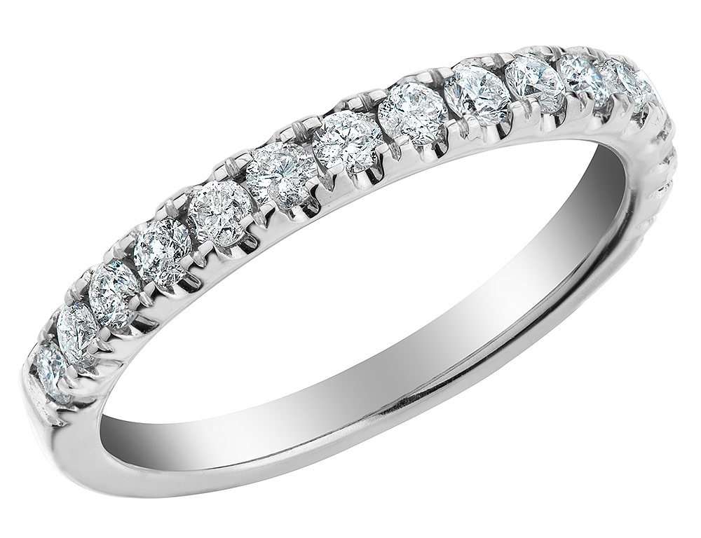 Diamond Wedding Band and Anniversary Comfort Fit Ring 1/4 Carat (ctw) in 14K White Gold