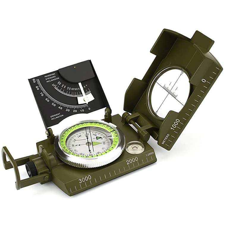 Compass, Waterproof Hiking Military Navigation Compass with Fluorescent Design,Perfect for Outdoor Activities