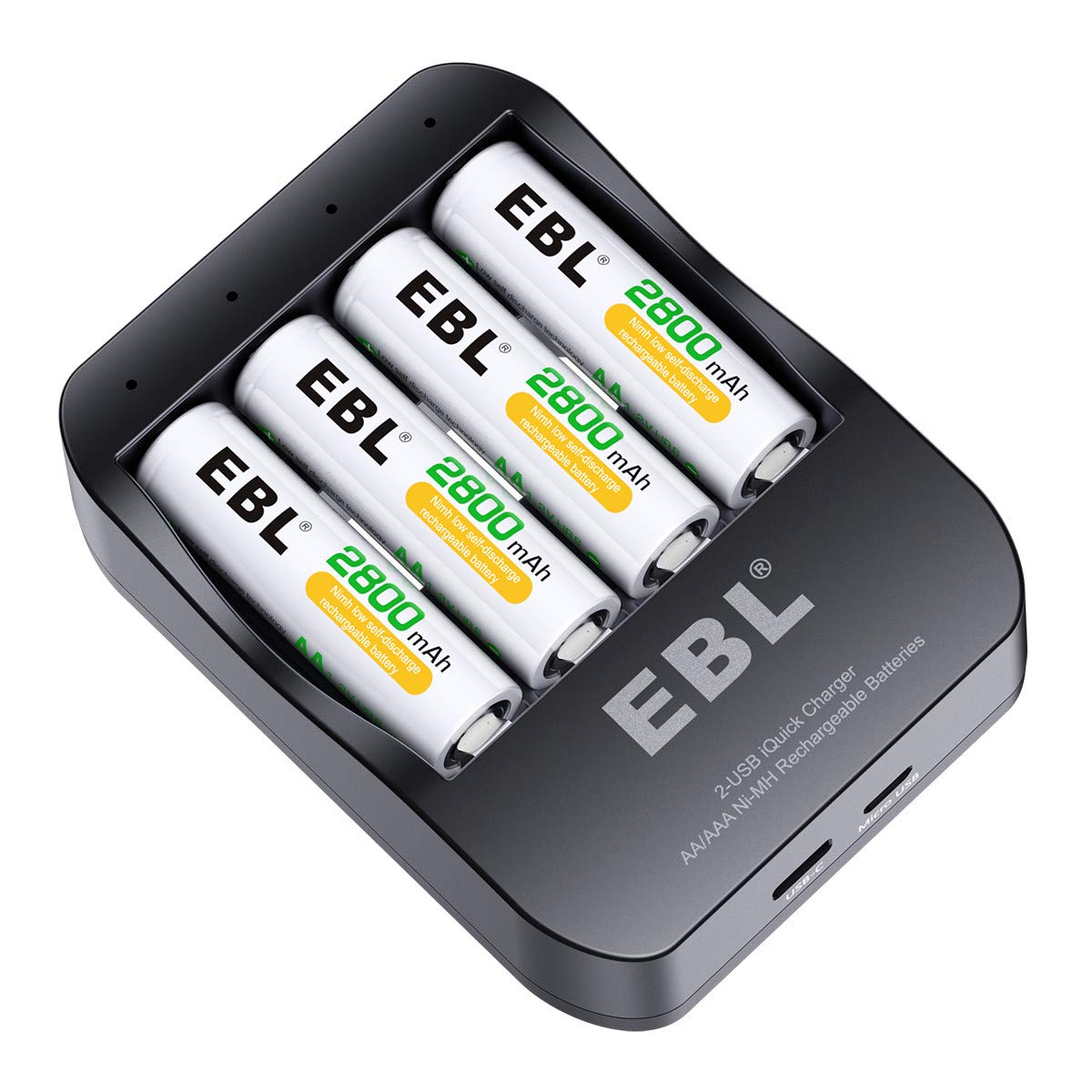 EBL Battery Charger Fast Charging for AA AAA Rechargeable Batteies with 4 AA Rechargeable Batteries CA-64208112