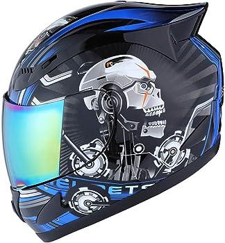 1STORM HJDJ11ABS - Full Face Skull Design Motorcycle Helmet