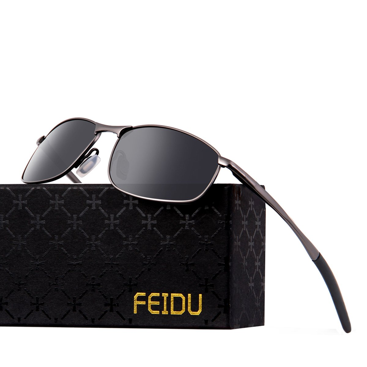 FEIDU Polarized Sport Mens Sunglasses HD Lens Metal Frame Driving Shades FD 9005 (A Black/Gun, 2.24)
