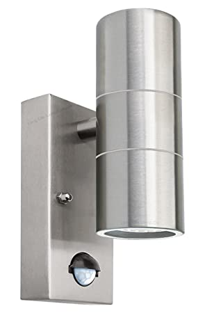 PIR Stainless Steel Double Outdoor Wall Light With Movement Sensor IP44  ZLC08DSEN Up/Down Outdoor