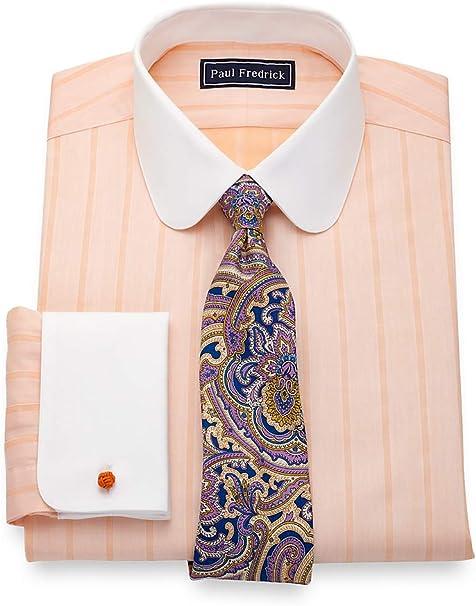 Paul Fredrick Mens Non-Iron Cotton Herringbone French Cuff Dress Shirt