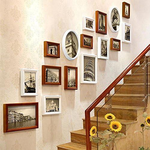 Zui&xiaoyao Vintage Retro marcos de fotos Collage paredes, escaleras de salón madera maciza combinación marcos de fotos, efectos visuales decorativos barra tapicería, regalos (Color A), 4: Amazon.es: Hogar