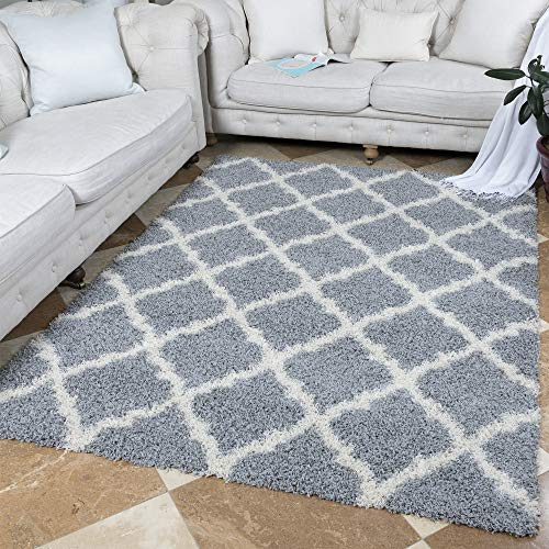 "Ottomanson Ultimate Shaggy Collection Moroccan Trellis Design Shag Rug Contemporary Bedroom and Living room Soft Shag Rugs, Grey, 5'3"" L x 7'0"" W"