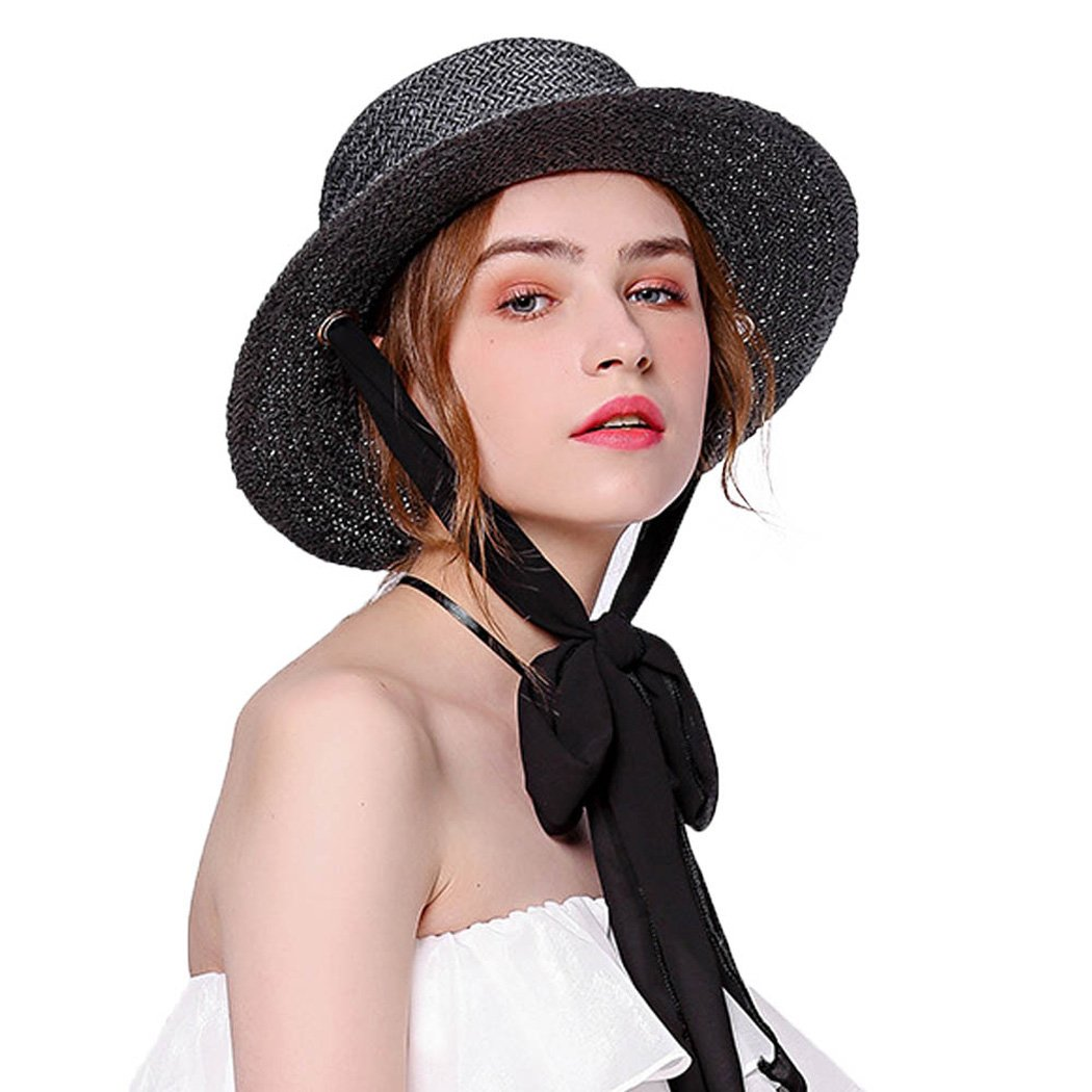 Womens Straw Hat with Elegant Double Use Big Ribbon Wide Brim Casual Beach Cap