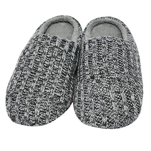 Qplus Q-plus Fleece Knit Wollen Men House Cosy Pantofole Larghe Cuscino Slip-on Flat Nero