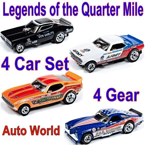 Auto World Legends 4 Car Set FUUNY Cars NHRA 4 Gear ho Slot car (Gear Car Slot)