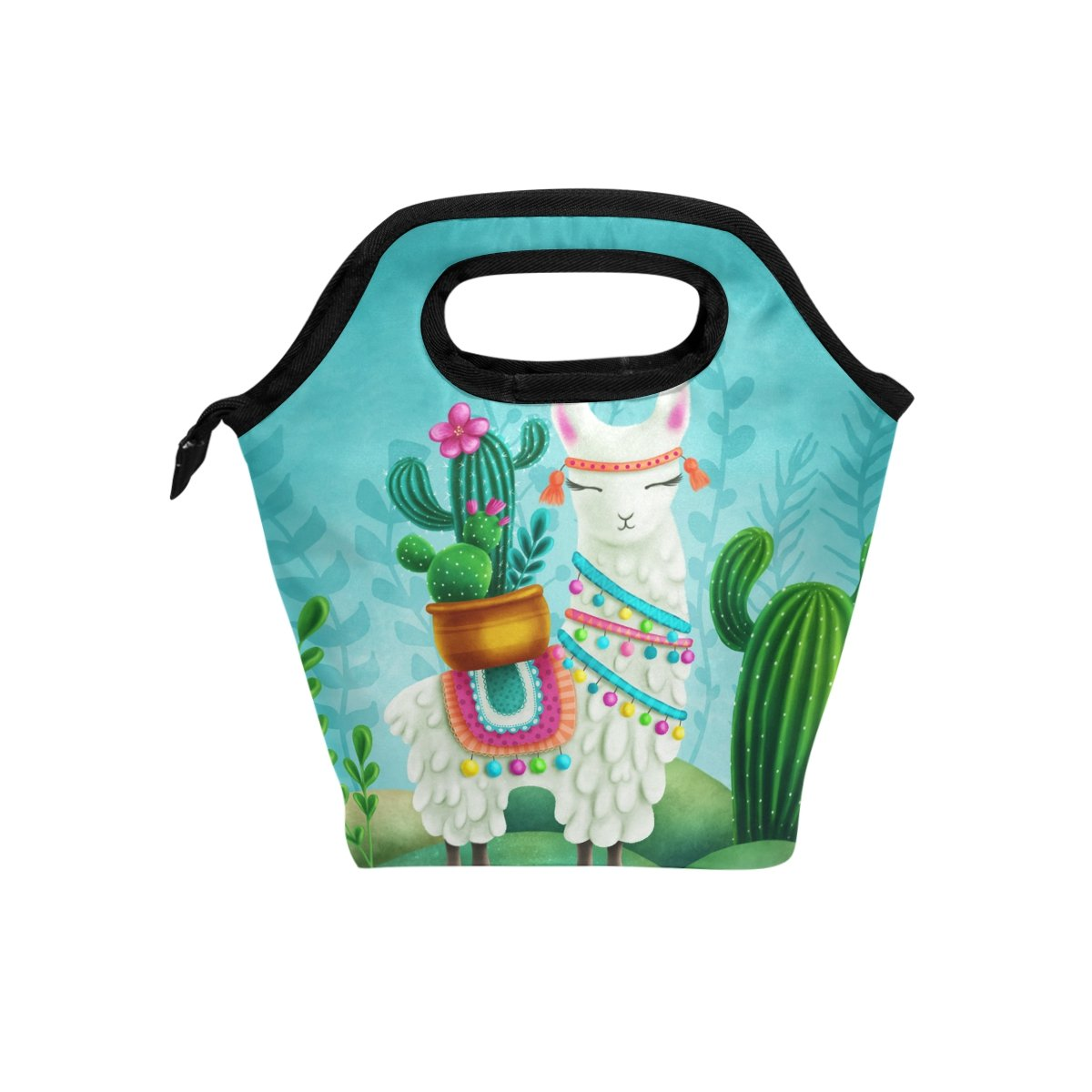 Naanle American Animal Alpaca with Cactus Insulated Zipper Lunch Bag Cooler Tote Bag for Adult Teens Kids Girls Boys Men Women, Llama Lunch Boxes Lunchboxes Meal Prep Handbag for School Office