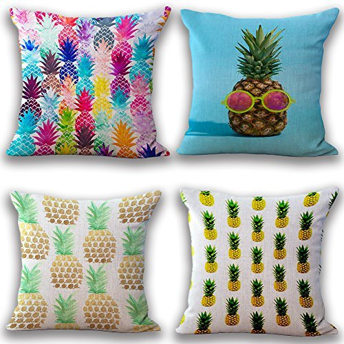 JOTOM Soft Cotton Linen Throw Pillow Case Cover Home Decorative Square Cushion Cover18'' x 18'' Set of 4 (Pineapple)