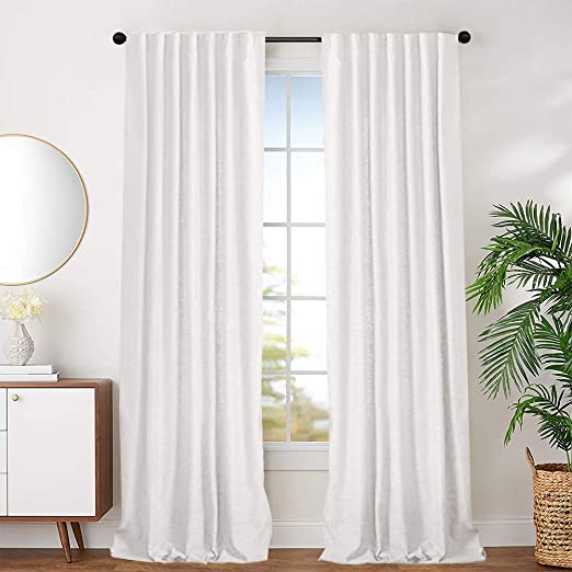 Amazon.com: jinchan White Cotton Curtains for Bedroom Cotton
