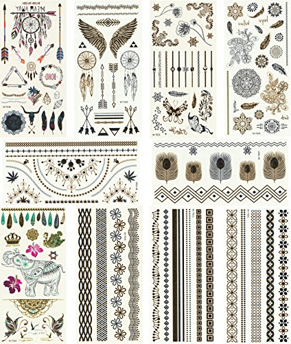 Metallic Temporary Tattoos, 10 Sheets, 160+ Designs