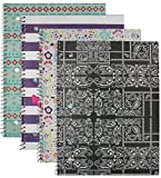 Emraw Trendsetters Notebook Spiral with 60 Sheets of Wide Ruled White Paper - Set Includes: Anchor, Owl, Bandana & Tribal Covers (4 Pack)