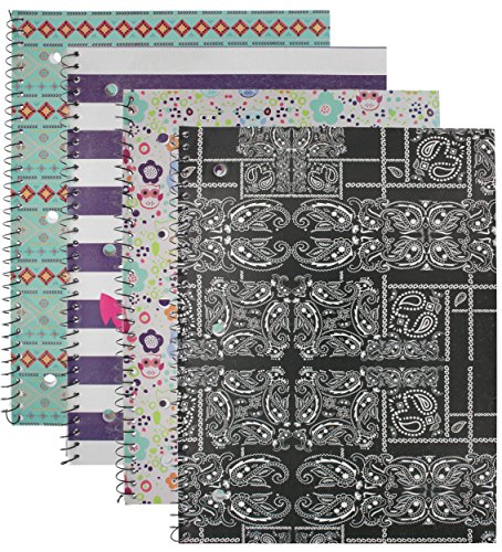 Emraw Trendsetters Notebook Spiral with 60 Sheets of Wide Ruled White Paper - Set Includes: Anchor, Owl, Bandana & Tribal Covers (4 Pack) by Emraw