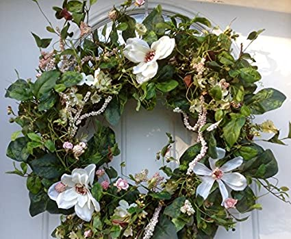 Magnificent Magnolia Wreath Silk Spring Front Door Wreath For Outdoors