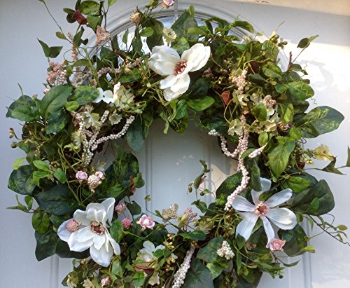 Magnolia Floral Wreath (Magnificent Magnolia Wreath Silk Spring Front Door Wreath For Outdoors)