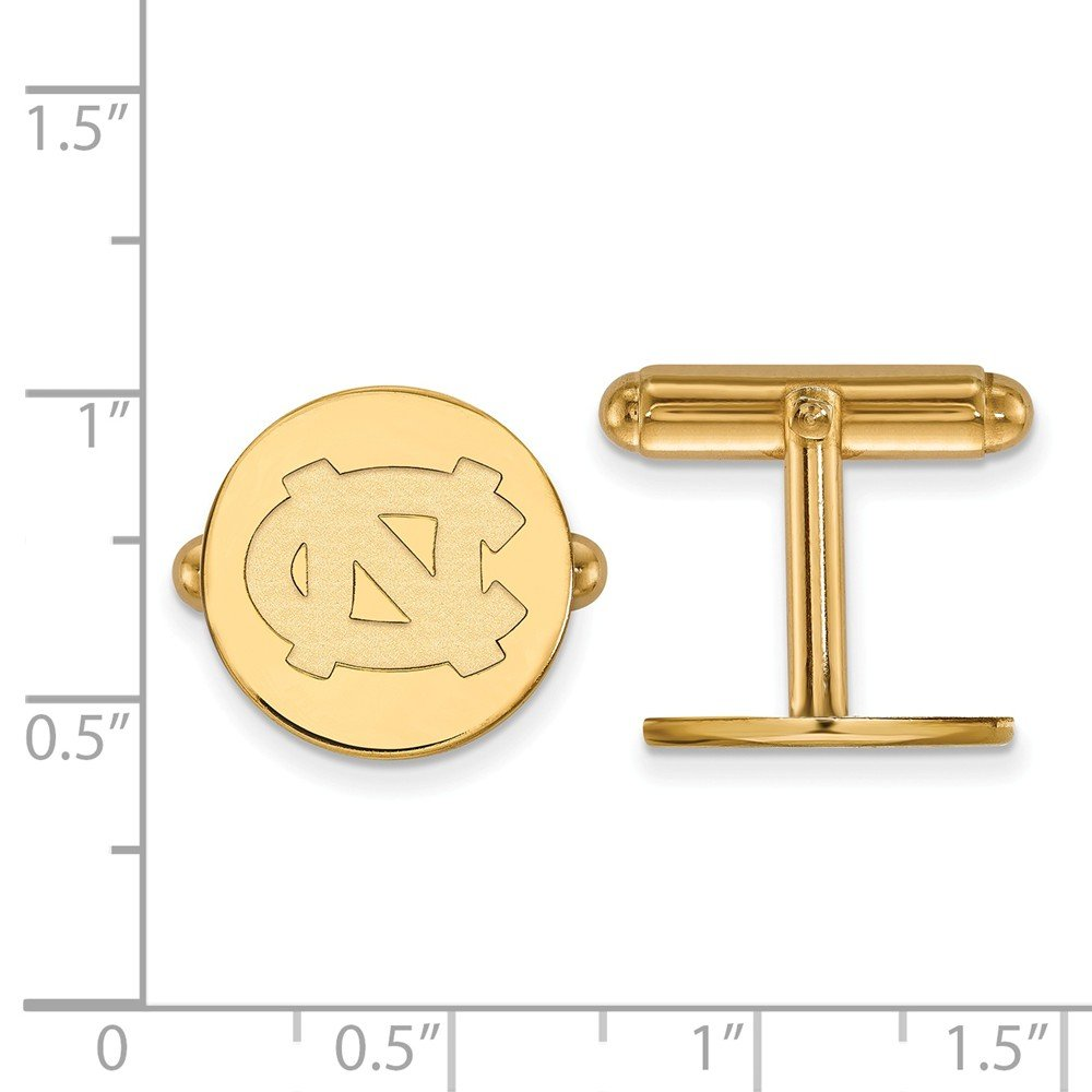 Jewel Tie 925 Sterling Silver with Gold-Toned University of North Carolina Cuff Link