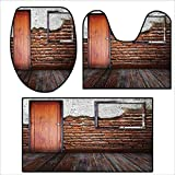 qianhehome Washable Non Slip Bath Mats and Rug Picture Frame Put On A Damaged Brick in Aged Old Rustic Wooden Floor .Sets for Toilet mat 15.7''x15''-23.6''x23.6''-47.2''x23.6''