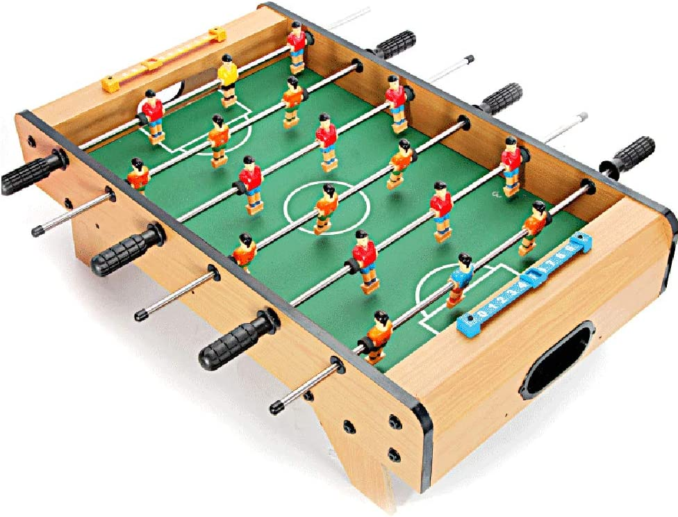 softneco Wooden Foosball Table Game with 2 Balls,Fun Tabletop Soccer Game for Home Recreational Party,Portable Football Table for Kids