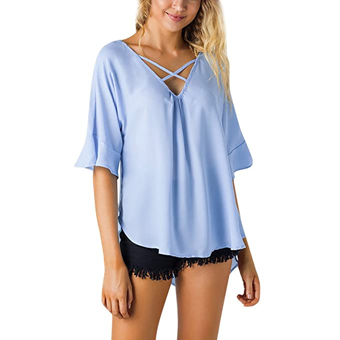 ASHOP Camisetas Muje, Camisetas Manga Corta EN Oferta Suelto Tops Blusas de Mujer Elegantes de