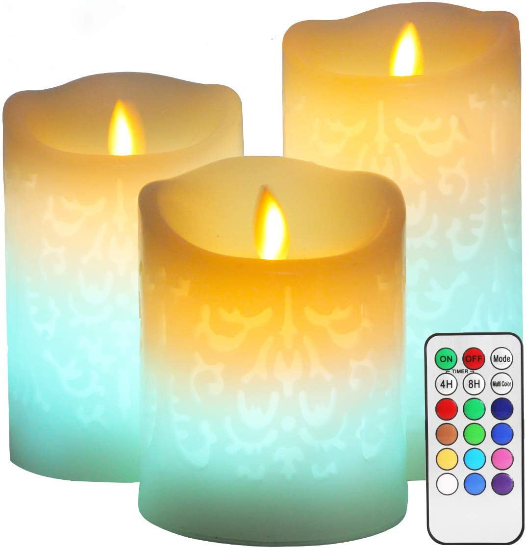 Color Changing LED Candle,Carved 3D Pattern Designs,Real Wax Flickering Moving Wick Flameless Candles with Remote Timer for Wedding Decor,Christmas Decorations